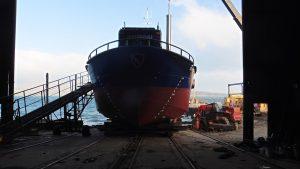 Gypsey Race Newbuild for Bridlington Harbour, moving out onto the slip at Ardmaleish Boatbuilding